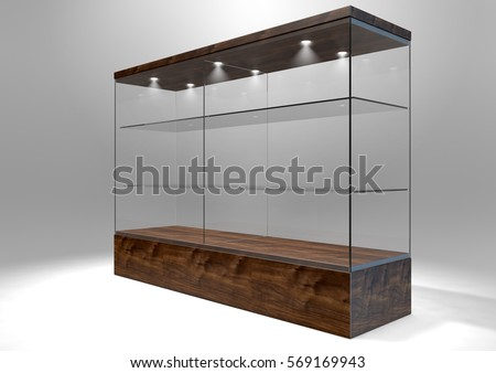 An Empty Rectangular Glass Display Cabinet With A Wooden Base And Lid And Glass  Shelves On