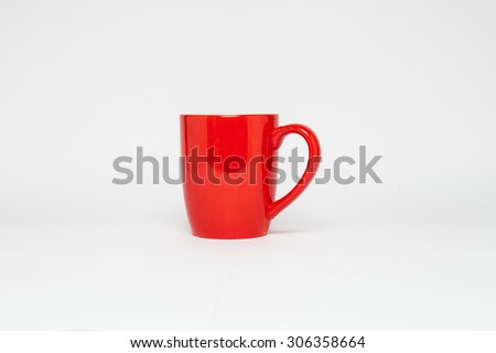 An empty red cup isolated on white - stock photo