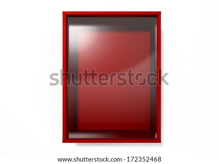 An empty red emergency box with an in case of emergency breakable glass on the front on an isolated background - stock photo