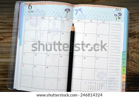 An empty retro daily planner with black pencil - stock photo