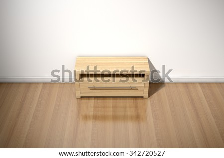 An empty  room in a house with white walls and a reflective wooden floor with a wooden plasma unit