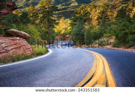 An empty S Curve in a forested road located in the mountains near Colorado Springs in Fall
