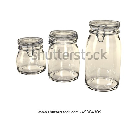 An empty, sealed jar with a blank, white label on an isolated background. - stock photo