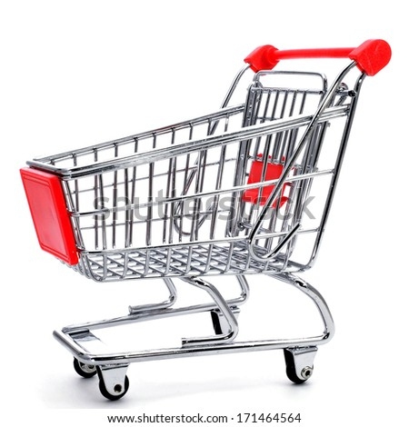 an empty shopping cart on a white background - stock photo