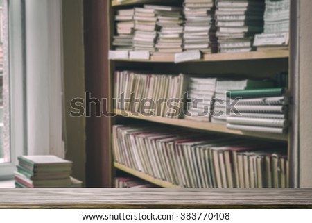 An empty tabletop in the library - stock photo