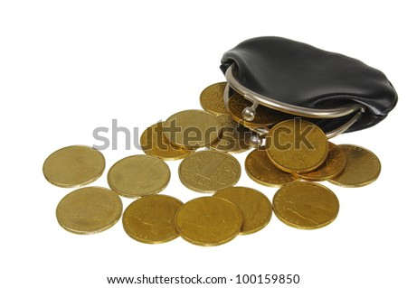 An empty wallet with  coins. - stock photo