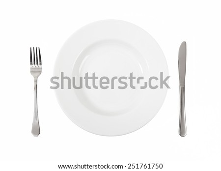 an empty white plate with knife and fork on white background