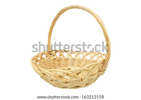 an empty wicker basket isolated on white - stock photo