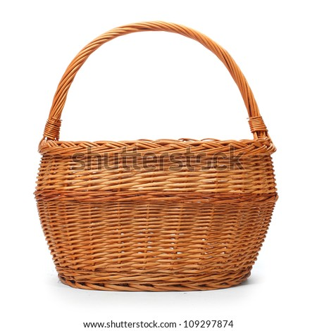 An empty wicker basket on white background. - stock photo