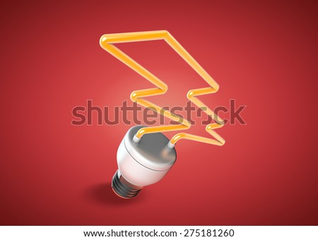 An energy saver light bulb forms shape of lightening bolt. Concept for saving electricity and power issues. - stock photo