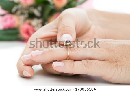 An engagement ring as a symbol of an accepted proposal