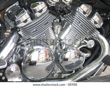 an engine of a motocycle near central park - stock photo
