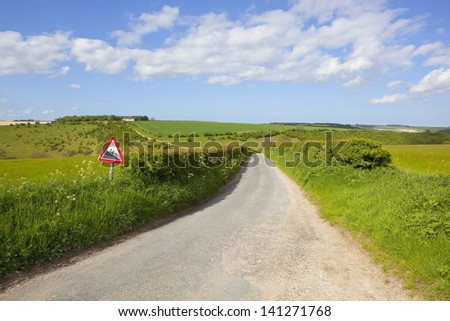 an english country road with sign warning of a steep hill in the yorkshire wolds england amongst arable farmland under a blue cloudy sky in summer - stock photo