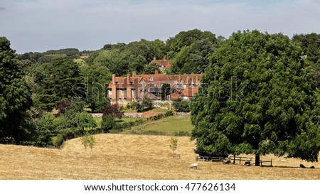 An English Landscape in the Chiltern Hills in Oxfordshire with village of Ewelme