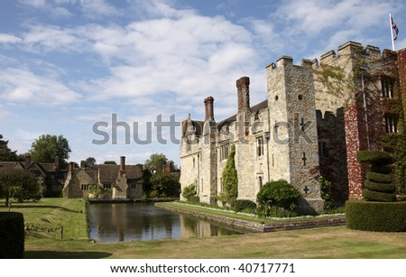 An English medieval castle in a garden setting