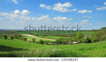 An English Rural Landscape in the Chiltern Hills with pastures and fields of crops