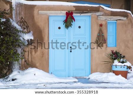 An entryway in Santa Fe, New Mexico - stock photo
