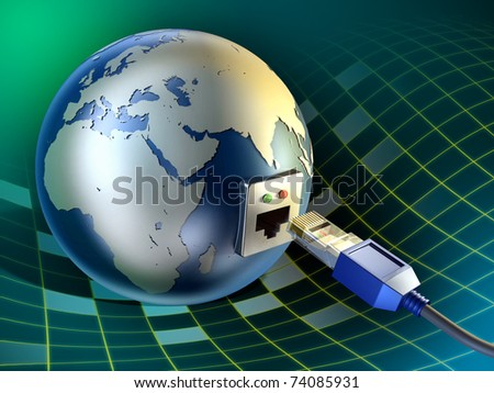 An ethernet cable inserted into the Earth. Digital illustration.