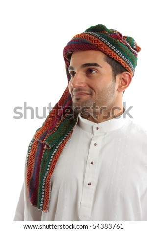 An ethnic  middle easter arab man smiling.  White background. - stock photo