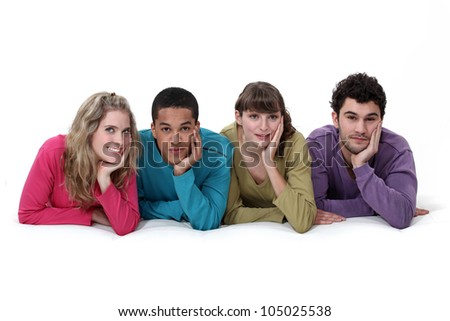 An ethnically diverse group of young people - stock photo