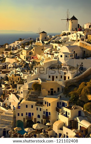 an evening at Oia or Ia on the greek island of santorini - stock photo