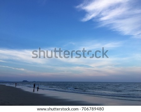 An evening landscape view of blue sunset sky on tropical beach, east cost of Malaysia