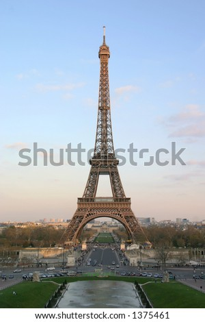 An evening view of the Eiffel Tower looking across the Pont D'Lena - Paris, France