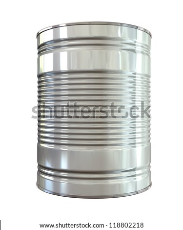 An everyday aluminum tin can on an isolated background - stock photo
