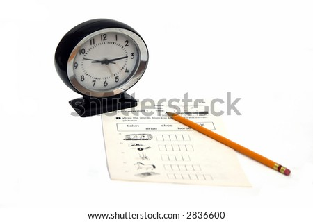 An exam clock and a pencil indicating test and time limit