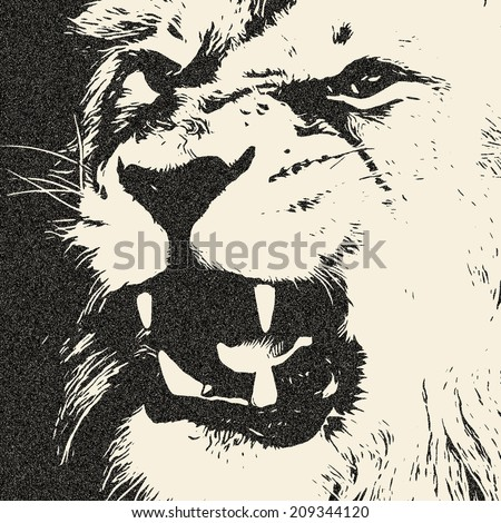 An expressive lion shows his huge fangs. The King of beasts, dangerous and biggest cat of the world. Great for user pic, icon, label or tattoo. Amazing illustration in grunge style. Zodiac symbol.  - stock photo