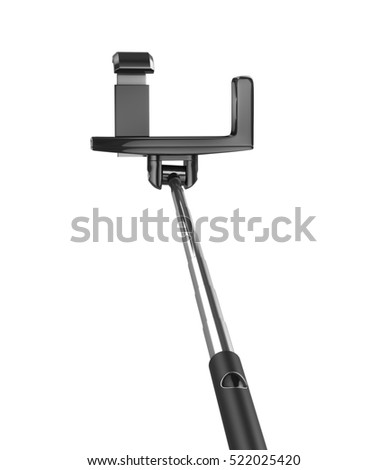 an extendable selfie stick with an adjustable clamp on the end on a white background. 3d illustration