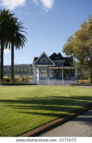An exterior shot of a large home in the country located in Napa county of California.
