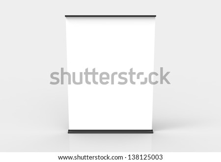 An extra wide roll up banner. Black in color. Easily paste your own content on the banners and create an advertisement or info post.