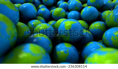 An extreme closeup concept of a collection of gumballs resembling little earth globes