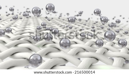 An extreme magnification of white individual fabric threads being penetrated by silver molecules on an isolated background - stock photo
