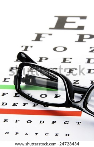 An eye chart with a black frame eyeglasses. - stock photo