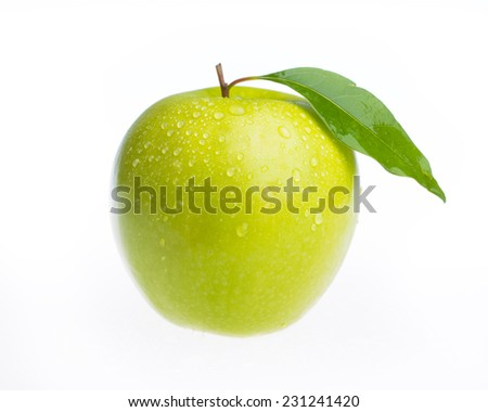 An fresh apple with leaf isolated on white background - stock photo
