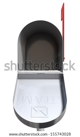 An front view of an open empty old school retro tin mailbox with an embossed mail envelope sign on an isolated background - stock photo