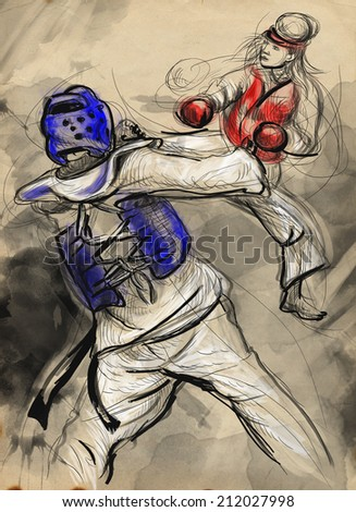 An full sized hand drawn illustration (original drawing on paper) from series Martial Arts: TAEKWON DO (is a Korean martial art. It combines combat and self-defense techniques with sport and exercise) - stock photo