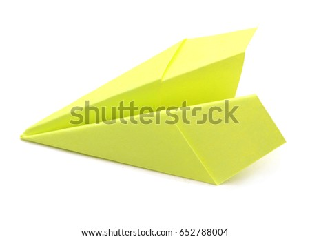 An green airplane paper isolated