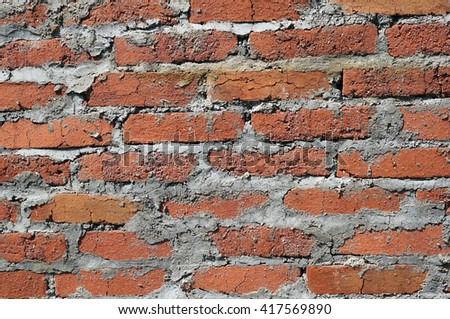 An grunge red brick wall texture or background. - stock photo