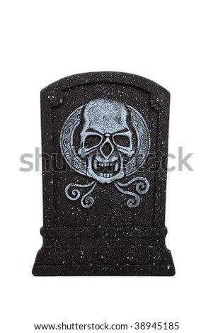 An halloween grave stone on a white background - stock photo