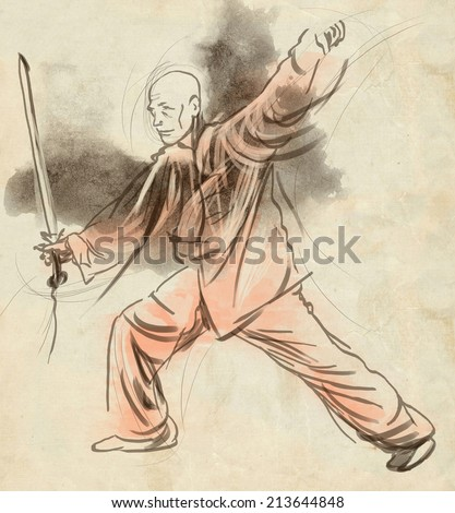 An hand drawn, full sized, illustration (original) from series Martial Arts: TAIJI (Tai Chi). Is an internal Chinese martial art practiced for both its defense training and its health benefits.