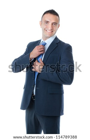 an handsome businessman on a white background - stock photo