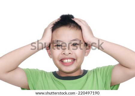 an handsome in asian kid smiling for you - stock photo