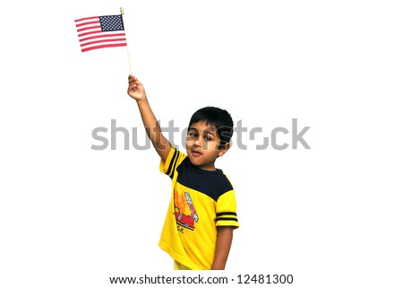 An handsome kid holding an american flag - stock photo