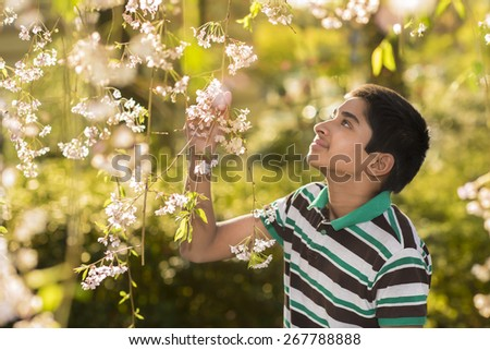 An handsome young teenager enjoying spring flowers  - stock photo