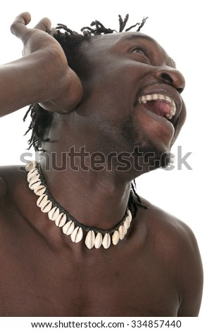 An happy funny african american man headshot over white in studio - stock photo