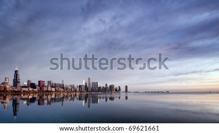 An HDR Image of the Chicago Downtown at sunrise
