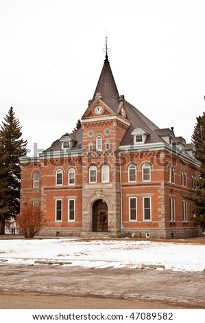 An historic brick and stone county courthouse in Boulder, Montana - stock photo